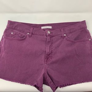 For All ManKind Burgundy Jean Shorts Size 32